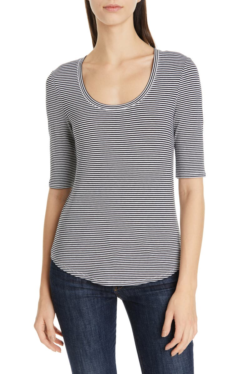 NORDSTROM SIGNATURE Stripe Scoop Neck Tee, Main, color, 401