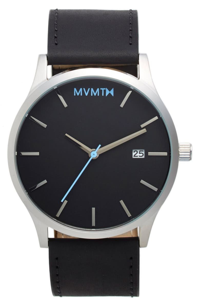 MVMT Leather Strap Watch, 45mm, Main, color, 040