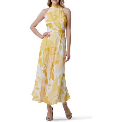 Tahari Printed Halter Maxi Dress, Yellow