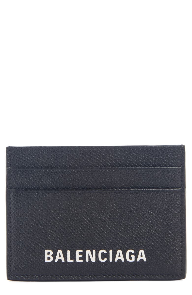 BALENCIAGA Ville Pebbled Leather Card Holder, Main, color, BLACK/L WHITE