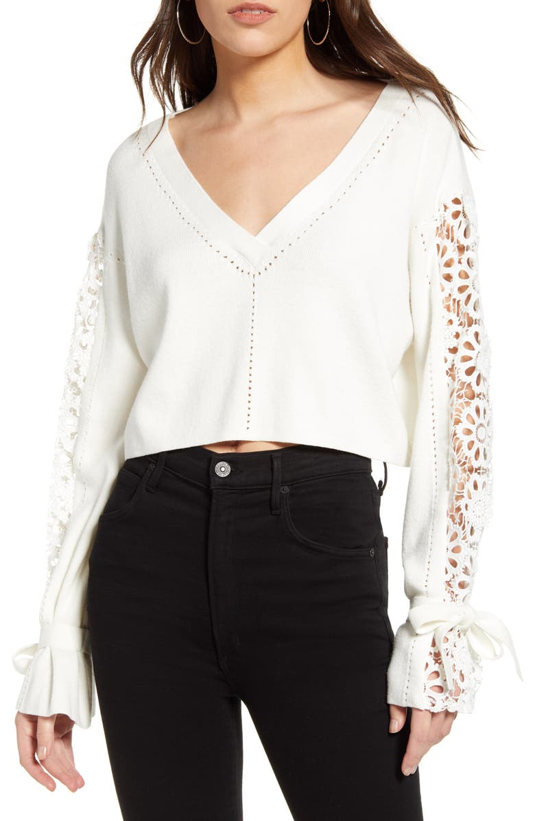 FRENCH CONNECTION Leona Pointelle Crop V-Neck Sweater, Main, color, SUMMER WHITE