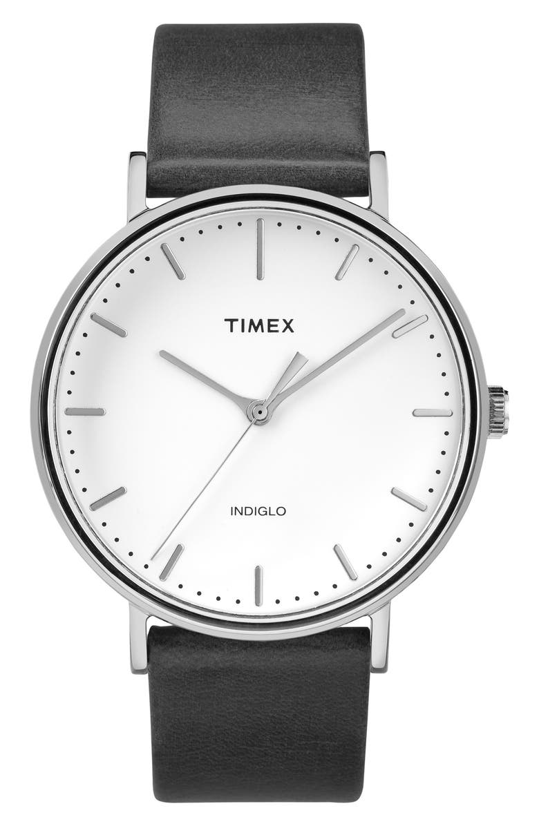 TIMEX<SUP>®</SUP> Fairfield Leather Strap Watch, 41mm, Main, color, BLACK/ WHITE/ SILVER