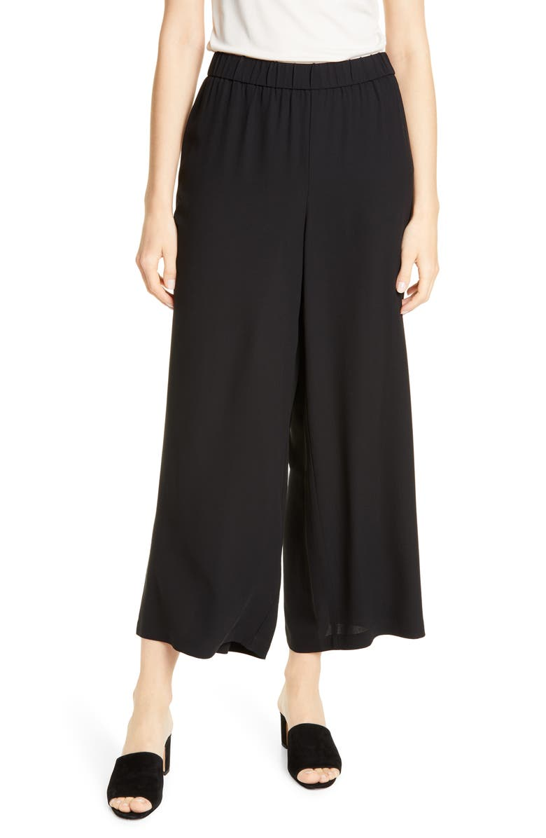 EILEEN FISHER Silk Crepe Ankle Pants, Main, color, BLACK