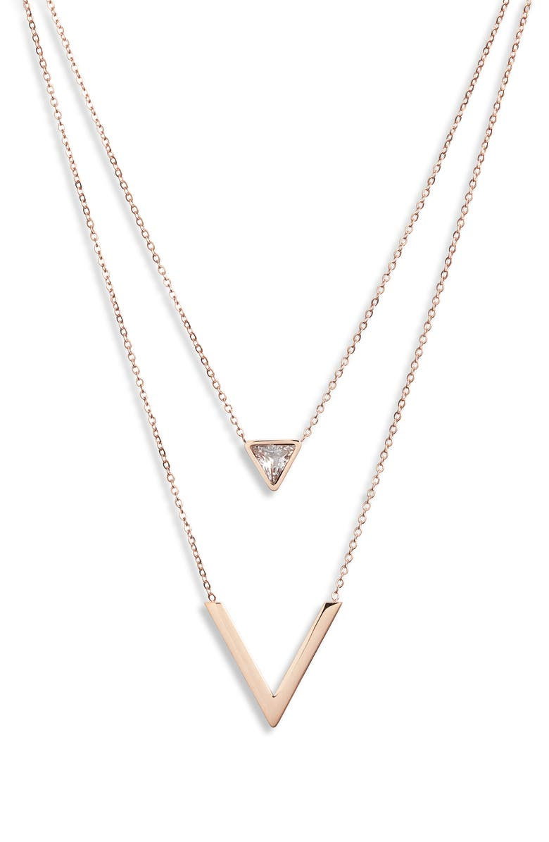 KNOTTY Double Strand Pendant Necklace, Main, color, ROSE GOLD