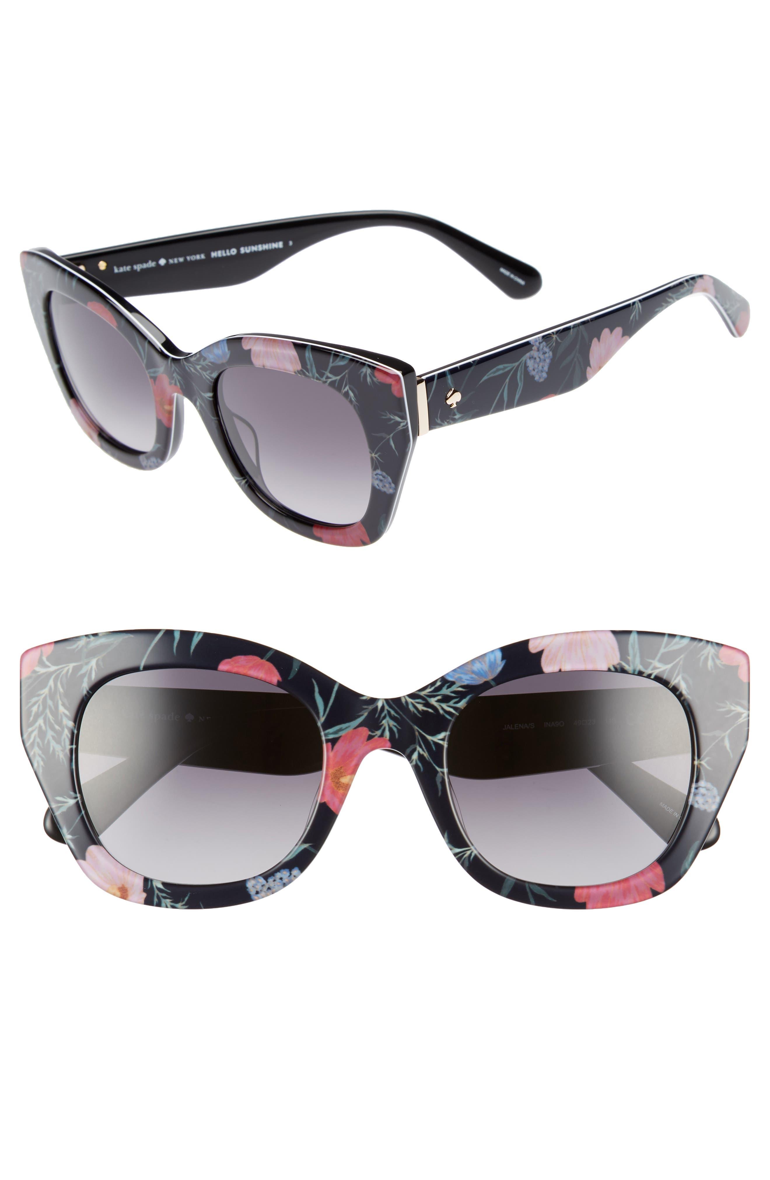 jalena 49mm gradient sunglasses, Main, color, BLACK/ FLORAL PRINT