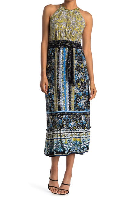 Image of London Times Floral Patchwork Halter Neck Maxi Dress