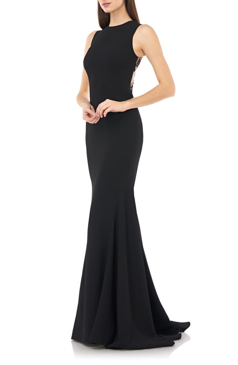 CARMEN MARC VALVO INFUSION Embellished Back Mermaid Gown, Main, color, BLACK