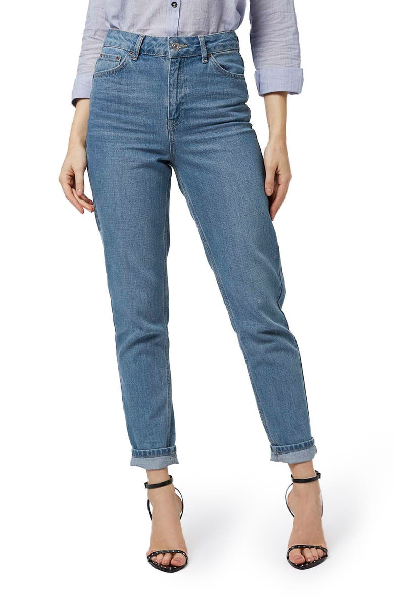 TOPSHOP High Rise Mom Jeans, Main, color, 400