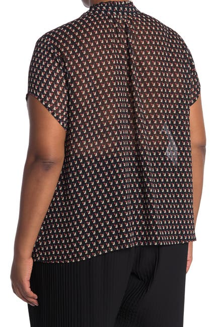 Image of Pleione Short Sleeve Tie Front Blouse