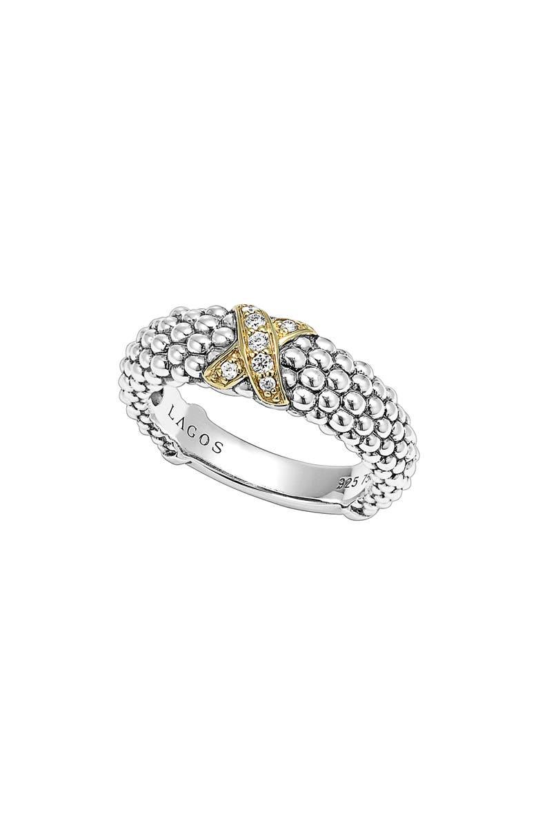 LAGOS 'X' Diamond & Caviar<sup>™</sup>' Two Tone Ring, Main, color, SILVER/ GOLD