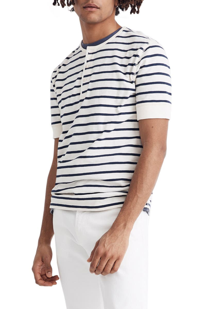 MADEWELL Nautical Stripe Henley T-Shirt, Main, color, BRETON STRIPE