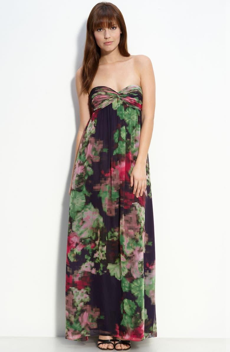AIDAN MATTOX Strapless Chiffon Maxi Dress, Main, color, PLUM MULTI