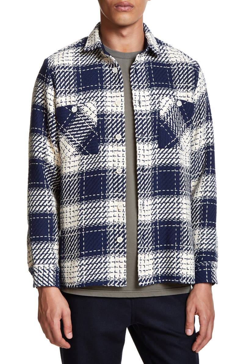WAX LONDON Whiting Relaxed Fit Plaid Cotton Shirt Jacket, Main, color, MARINE BEATNIK