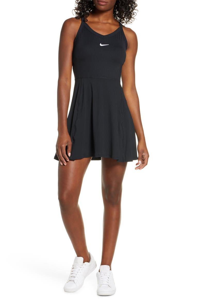 NIKE Court Dri-FIT Tennis Dress, Main, color, BLACK/ WHITE