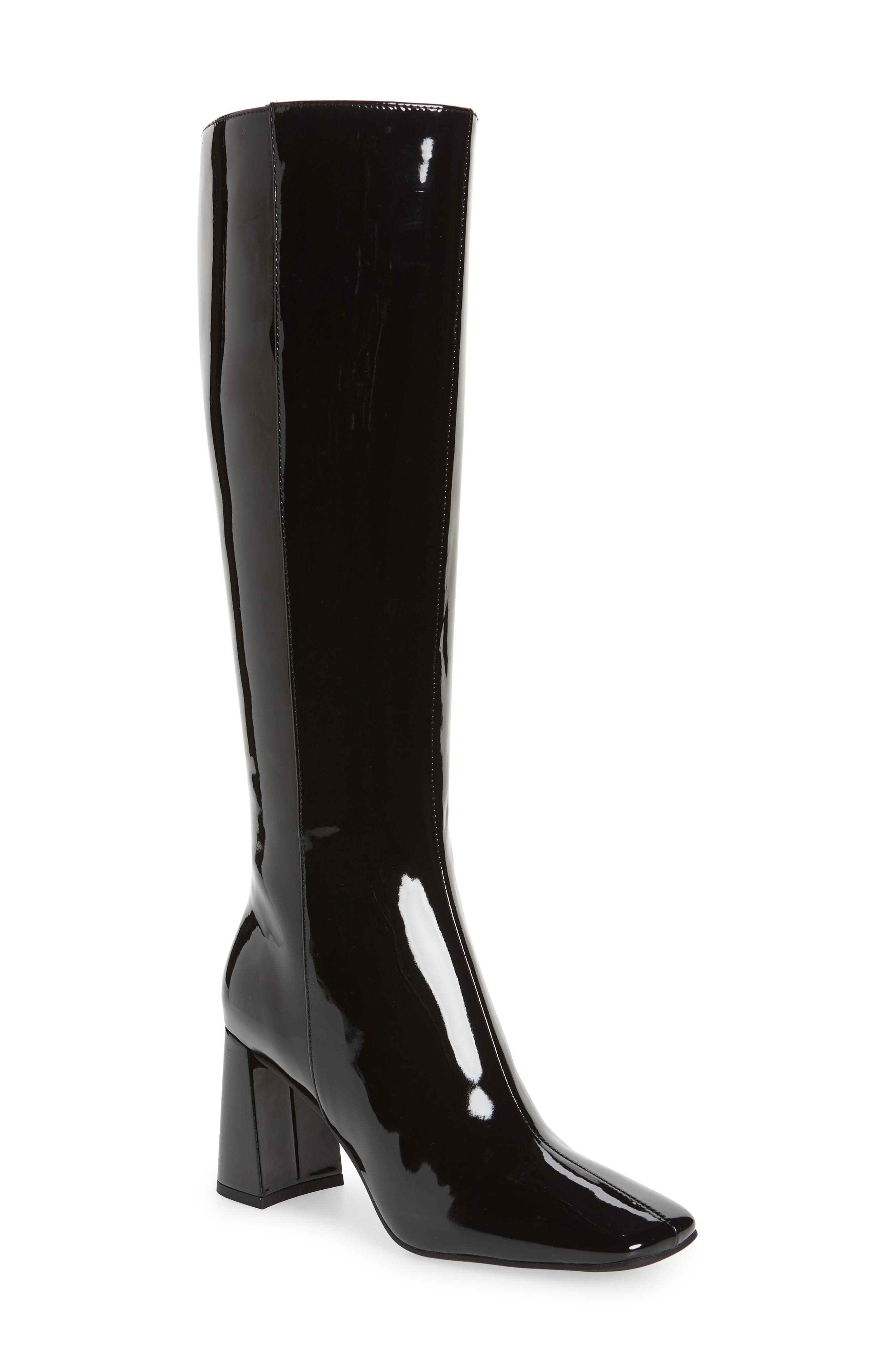 A square toe and chunky flared heel bring modern attitude to a sleek knee-high boot featuring simple styling for maximum versatility. Style Name: Jeffrey Campbell Patti Knee High Boot (Women). Style Number: 6093554. Available in stores.