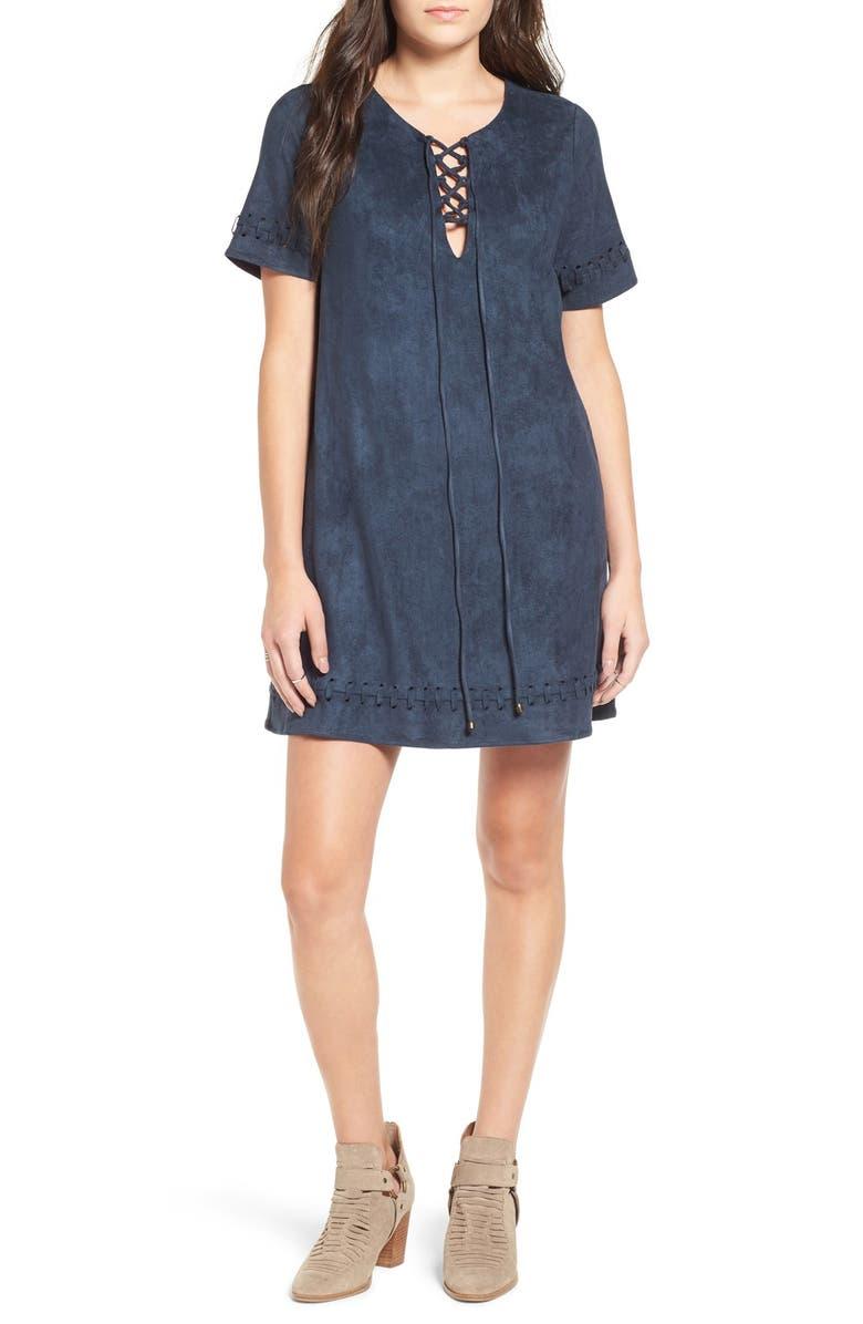 MOON RIVER Lace-Up Faux Suede Shift Dress, Main, color, 400
