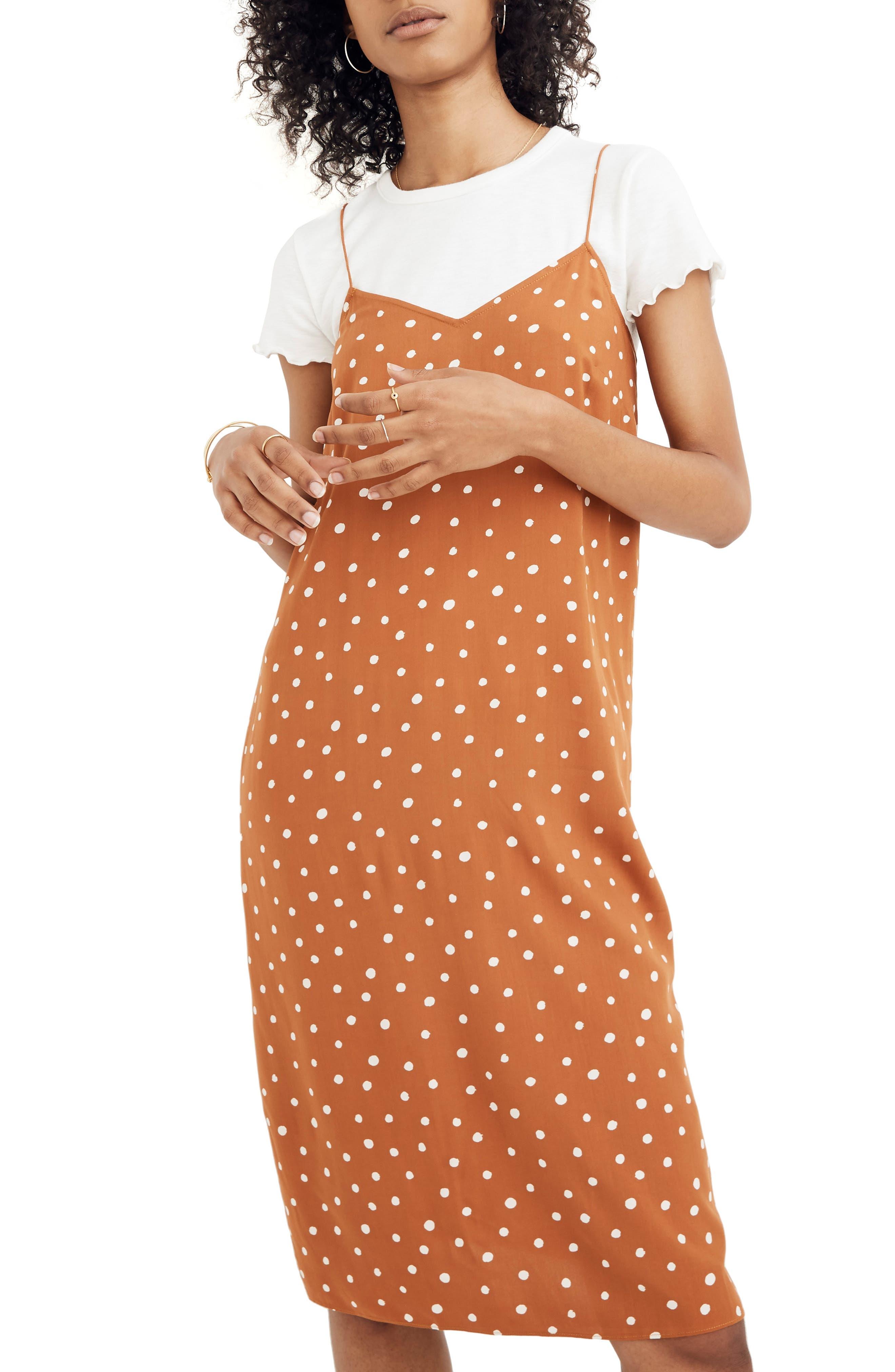 Madewell Inkspot Dots Cami Slipdress, Orange