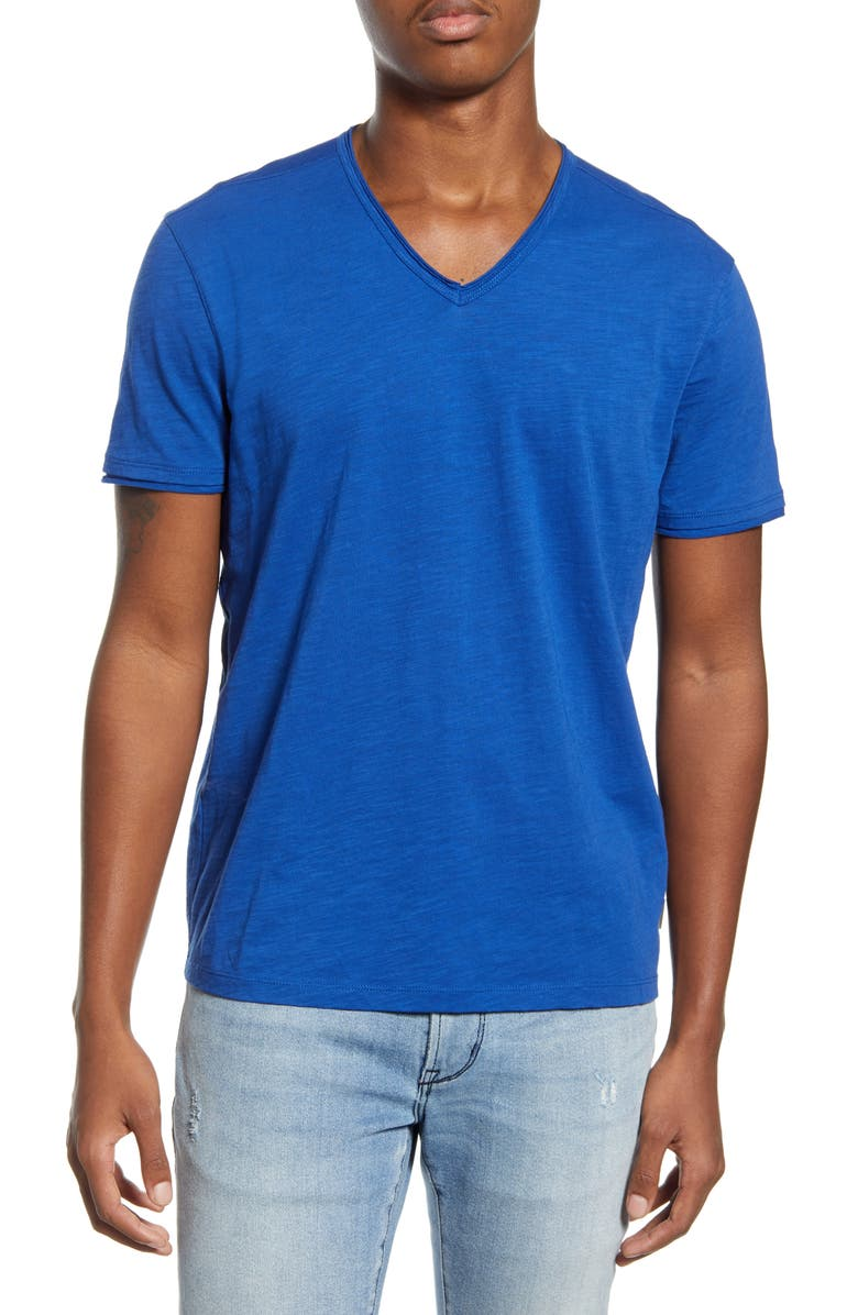 JOHN VARVATOS STAR USA Slubbed V-Neck T-Shirt, Main, color, ROYAL BLUE