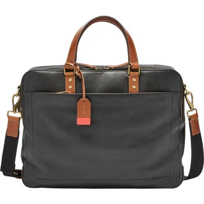 Fossil Defender Leather Briefcase - Black