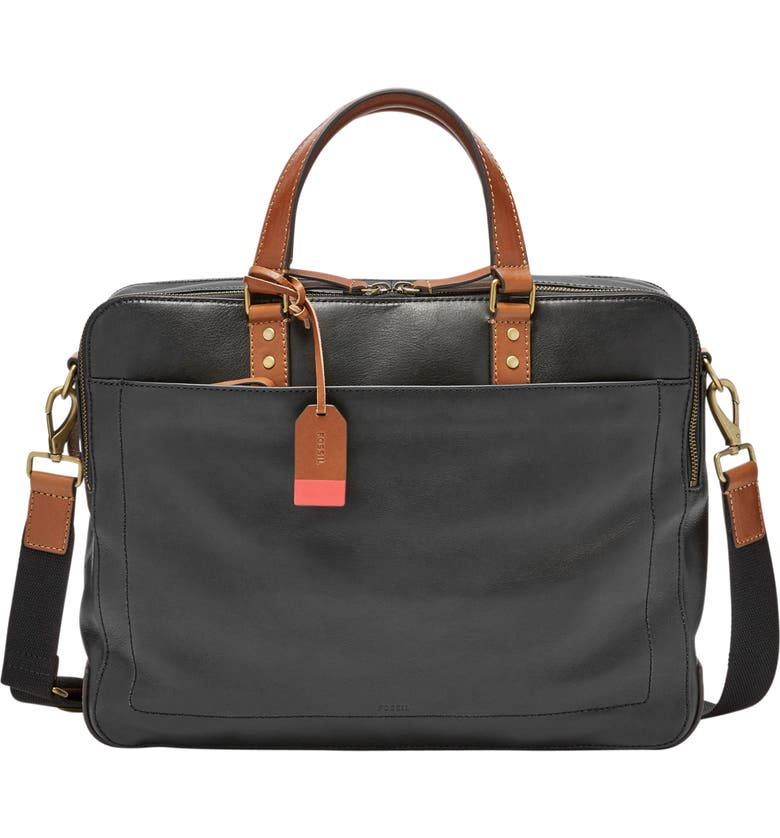 FOSSIL Defender Leather Briefcase, Main, color, BLACK