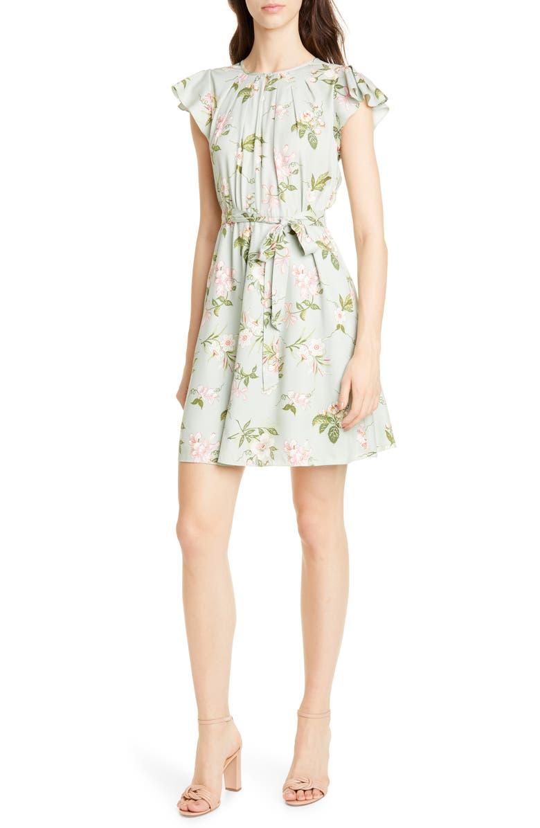 REBECCA TAYLOR Lita Floral Print Silk Blend Dress, Main, color, MINT