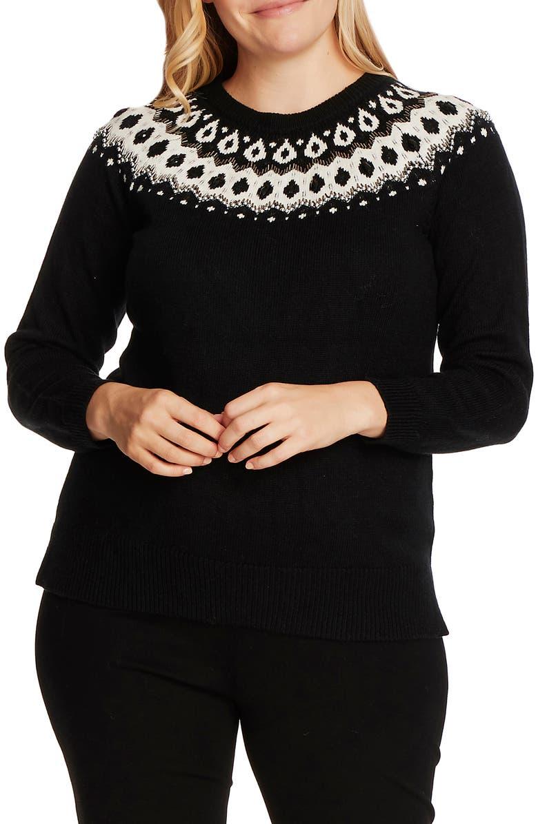 VINCE CAMUTO Embellished Yoke Cotton Blend Sweater, Main, color, RICH BLACK