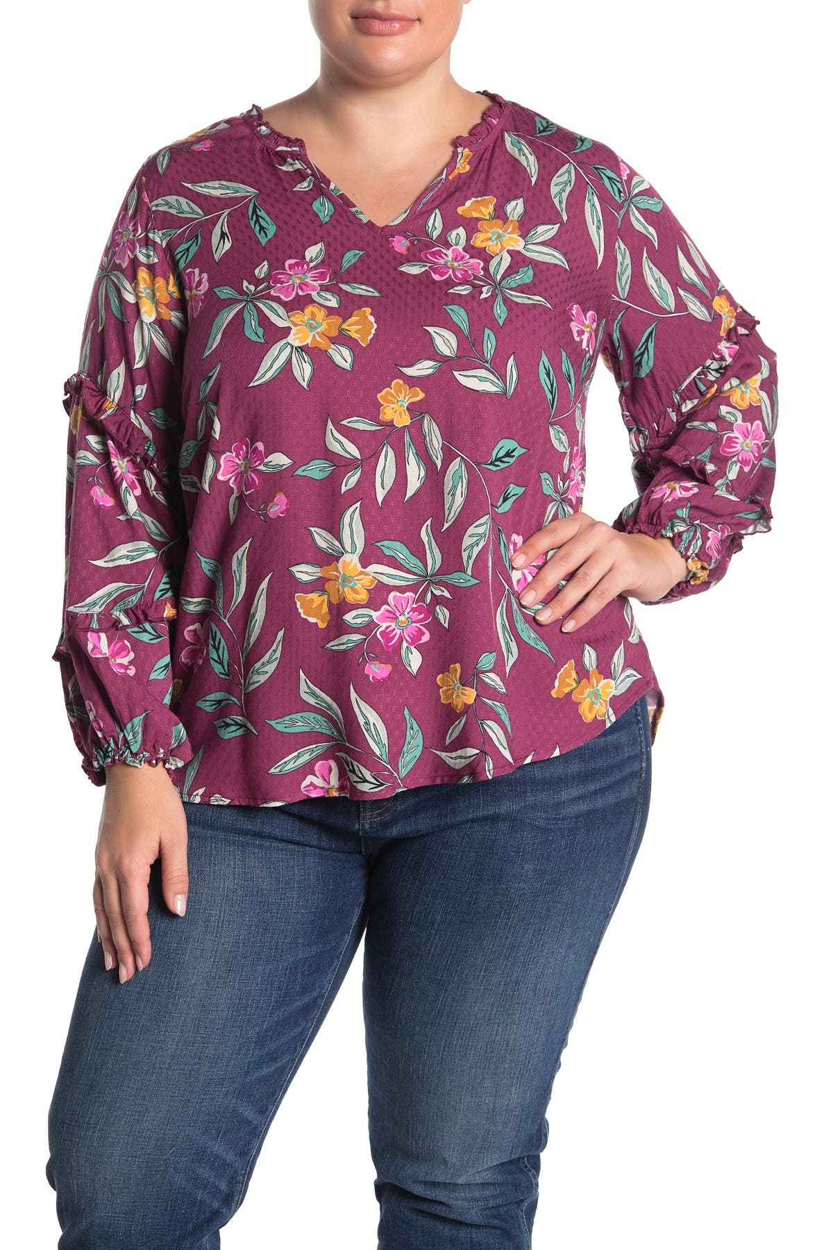 Image of Democracy V-Neck Floral Blouse
