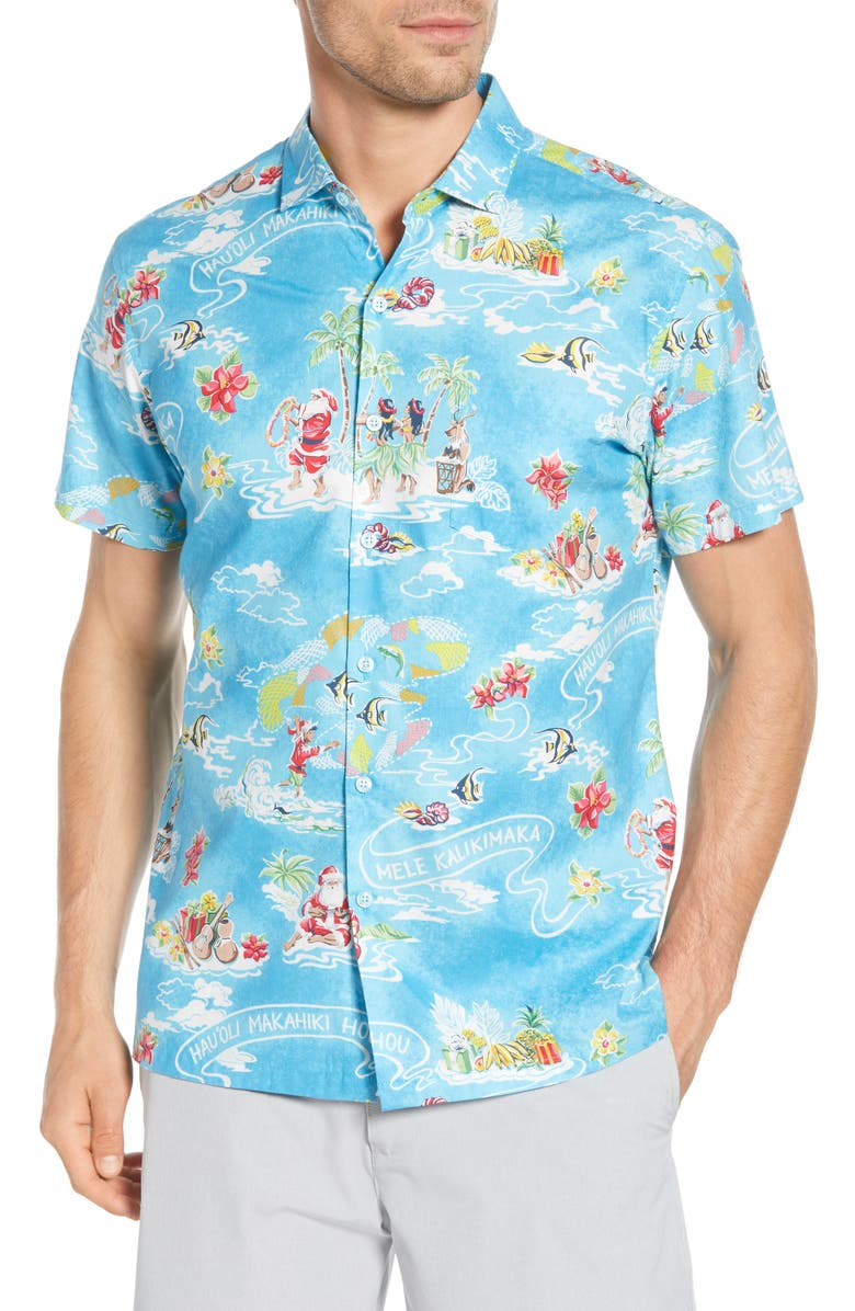 TORI RICHARD Hau'oli Lanui Regular Fit Tropical Christmas Short Sleeve Button-Up Shirt, Main, color, POOL
