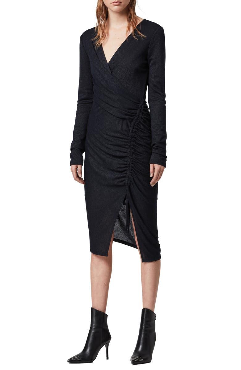 ALLSAINTS Rina Glitz Drawstring Long Sleeve Wrap Dress, Main, color, INK BLUE