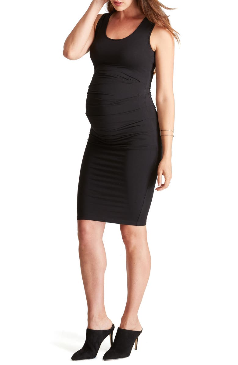 INGRID & ISABEL<SUP>®</SUP> Ruched Maternity Tank Dress, Main, color, BLACK