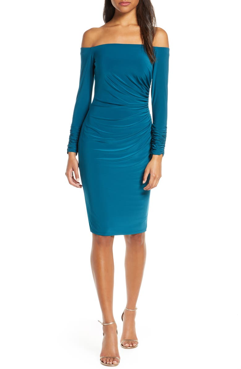 ELIZA J Off the Shoulder Long Sleeve Ruched Cocktail Dress, Main, color, PEACOCK