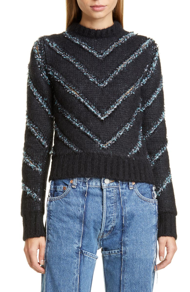 Y/PROJECT Slashed Sweater, Main, color, BLACK