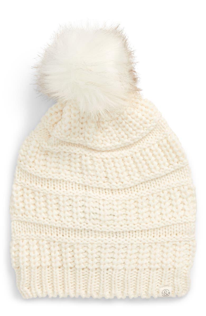 TREASURE & BOND Faux Fur Pom Beanie, Main, color, IVORY