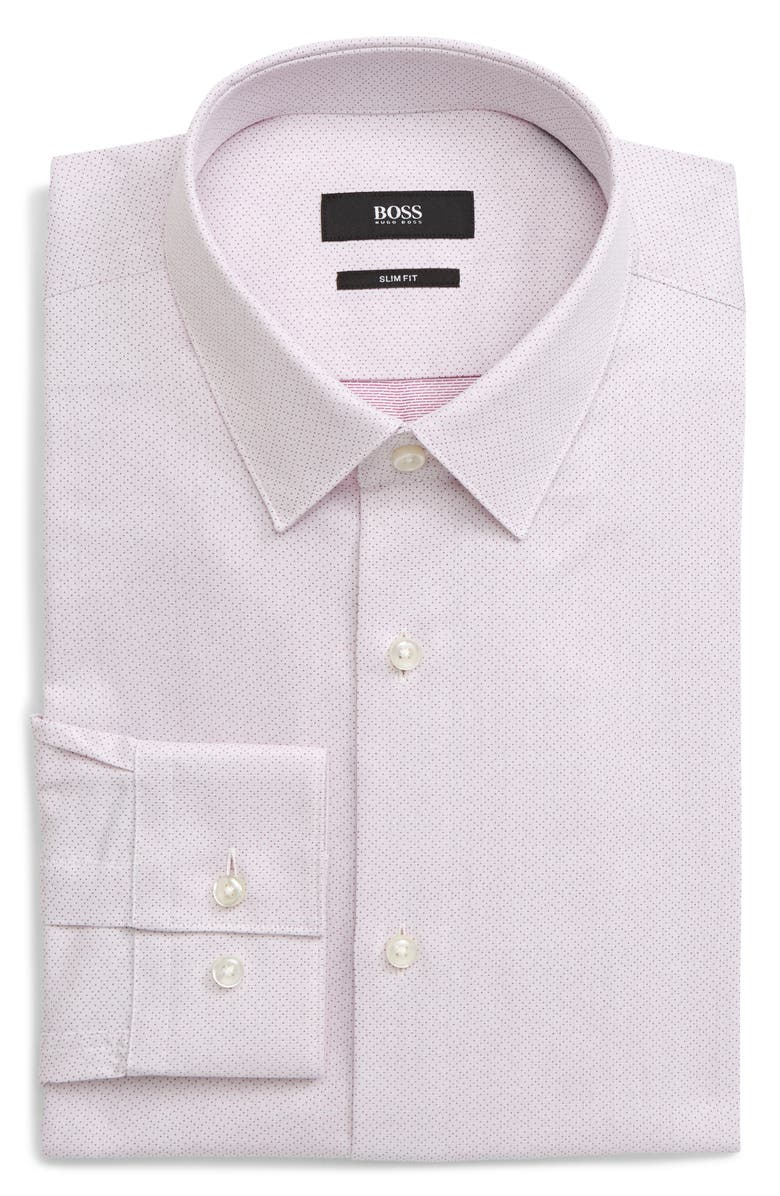 BOSS Isko Slim Fit Geometric Dress Shirt, Main, color, RED