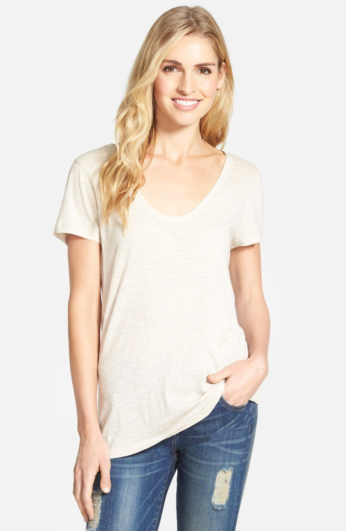 ,                             Relaxed Slub Knit U-Neck Tee,                             Main thumbnail 167, color,                             250