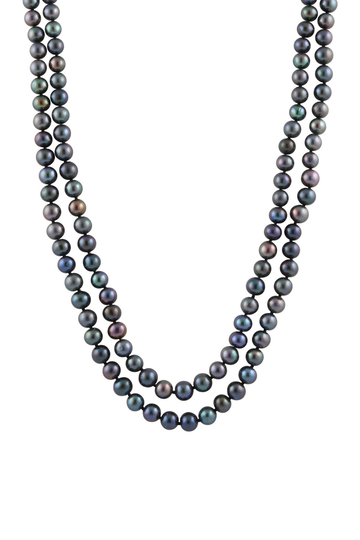 """Image of Splendid Pearls Black 9-10mm Cultured Freshwater Pearl 64"""" Strand Necklace"""