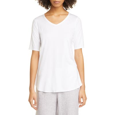 Eileen Fisher V-Neck Tunic Top, White