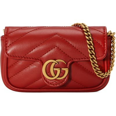 Gucci Gg Marmont 2.0 Quilted Leather Coin Purse On A Chain - Red