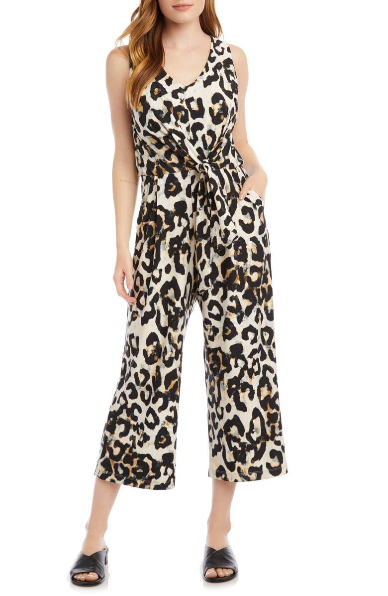 KAREN KANE Leopard Print Sleeveless Jumpsuit, Main, color, 200