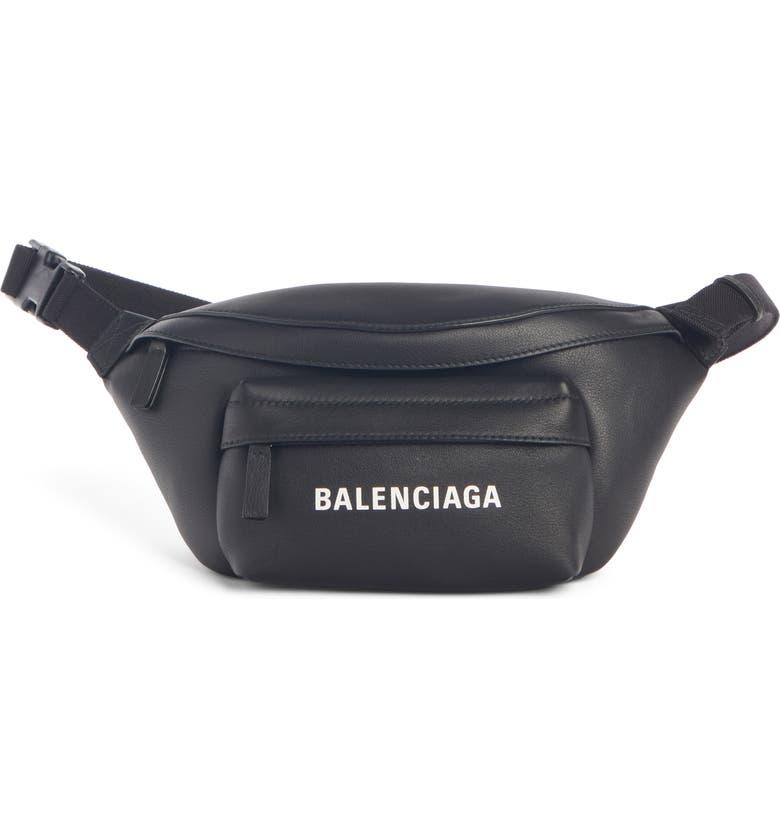 BALENCIAGA Everyday Logo Calfskin Leather Belt Bag, Main, color, 001