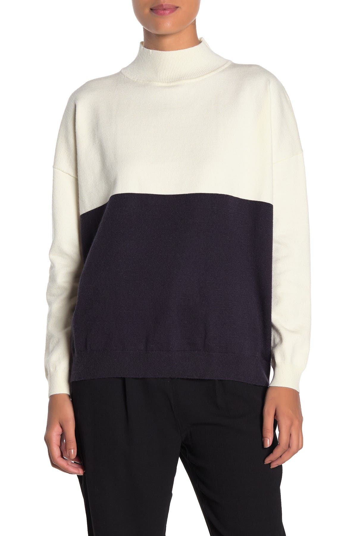 Image of FRNCH Colorblock Mock Neck Sweater