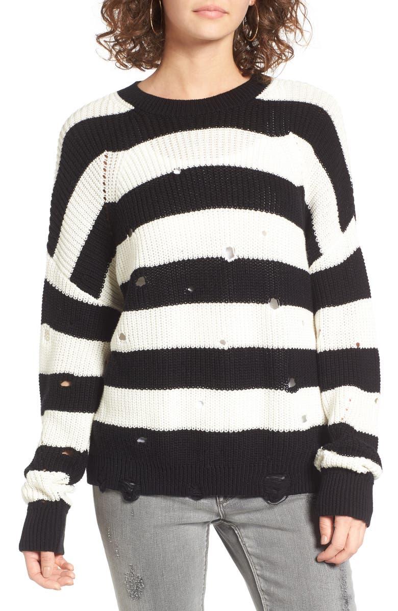 BP. Decontructed Stripe Cotton Pullover, Main, color, 001