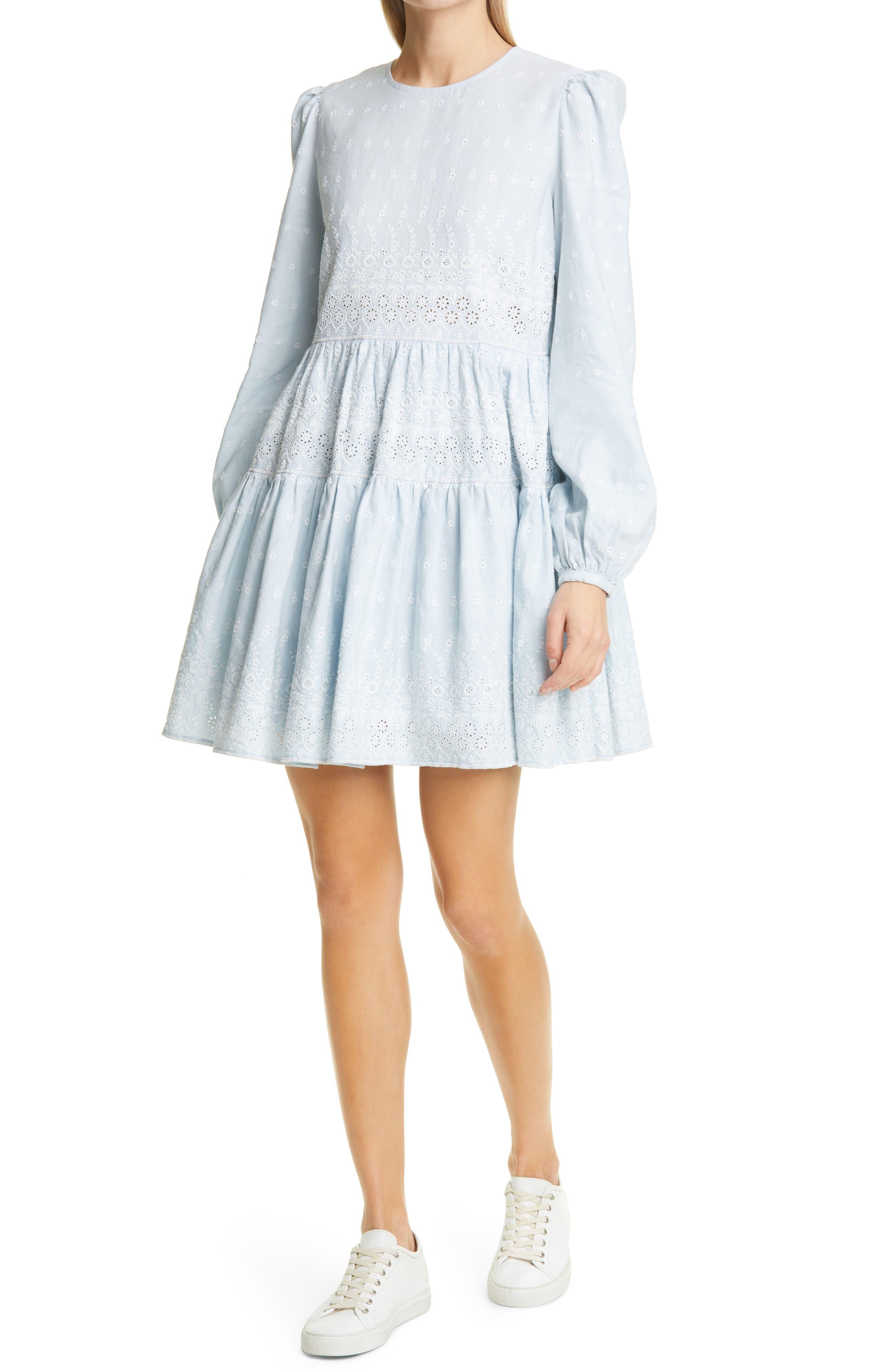 Broderie Anglaise Long Sleeve Linen Blend Minidress