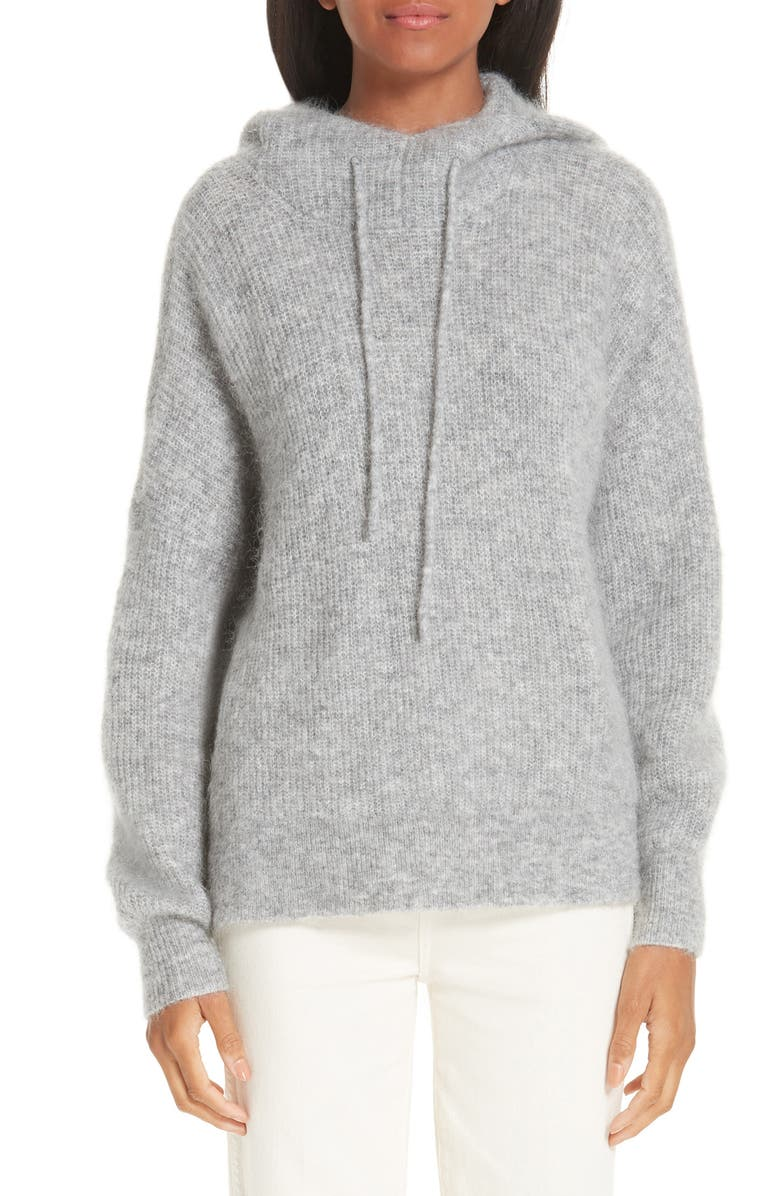 GANNI Soft Wool Blend Hoodie, Main, color, PALOMA MELANGE 921