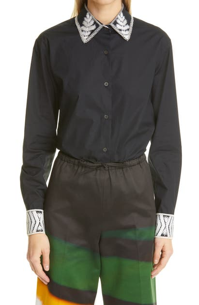 Dries Van Noten Cottons CLAVELLY EMBROIDERED COTTON SHIRT