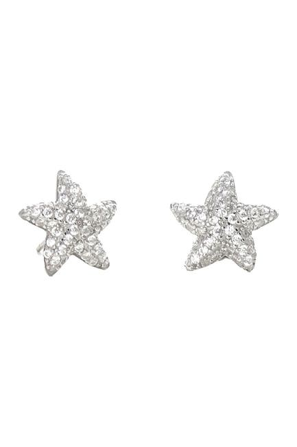 Image of Savvy Cie Sterling Silver Pave CZ Starfish Stud Earrings