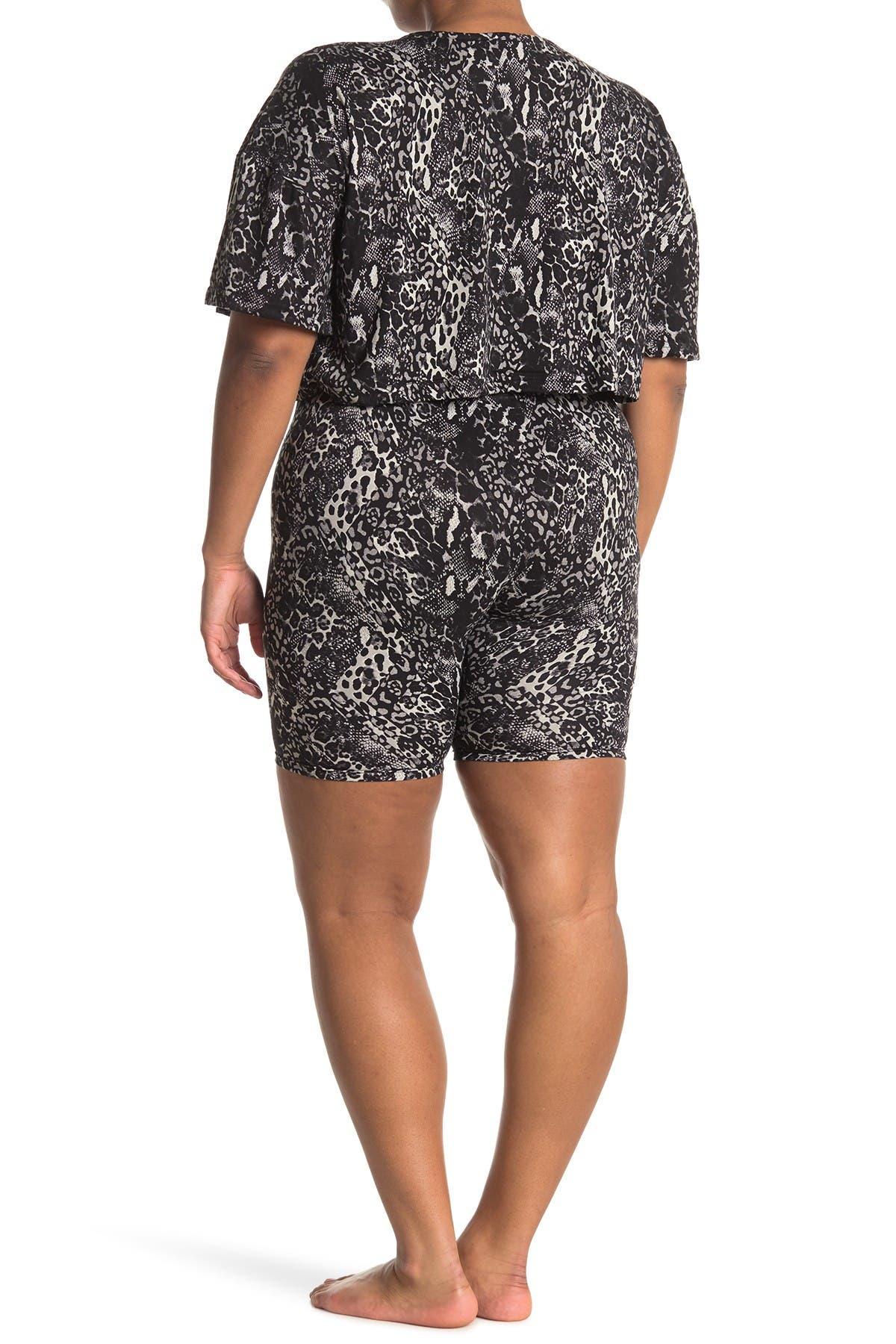 Image of FRENCH AFFAIR Snake Skin Print T-Shirt & Bike Shorts Pajama 2-Piece Set