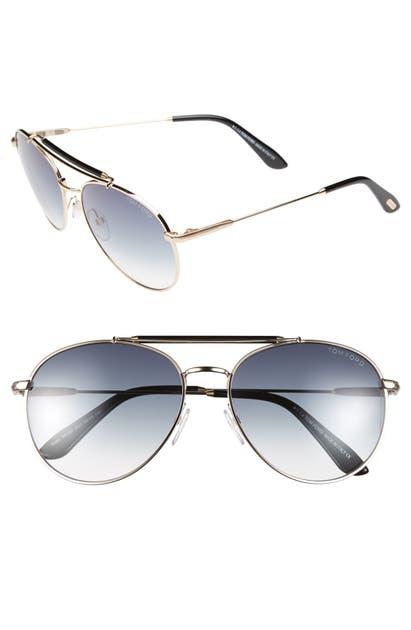 Tom Ford Sunglasses 'COLIN' 58MM AVIATOR SUNGLASSES - SHINY BLACK/ HAVANA TEMPLES