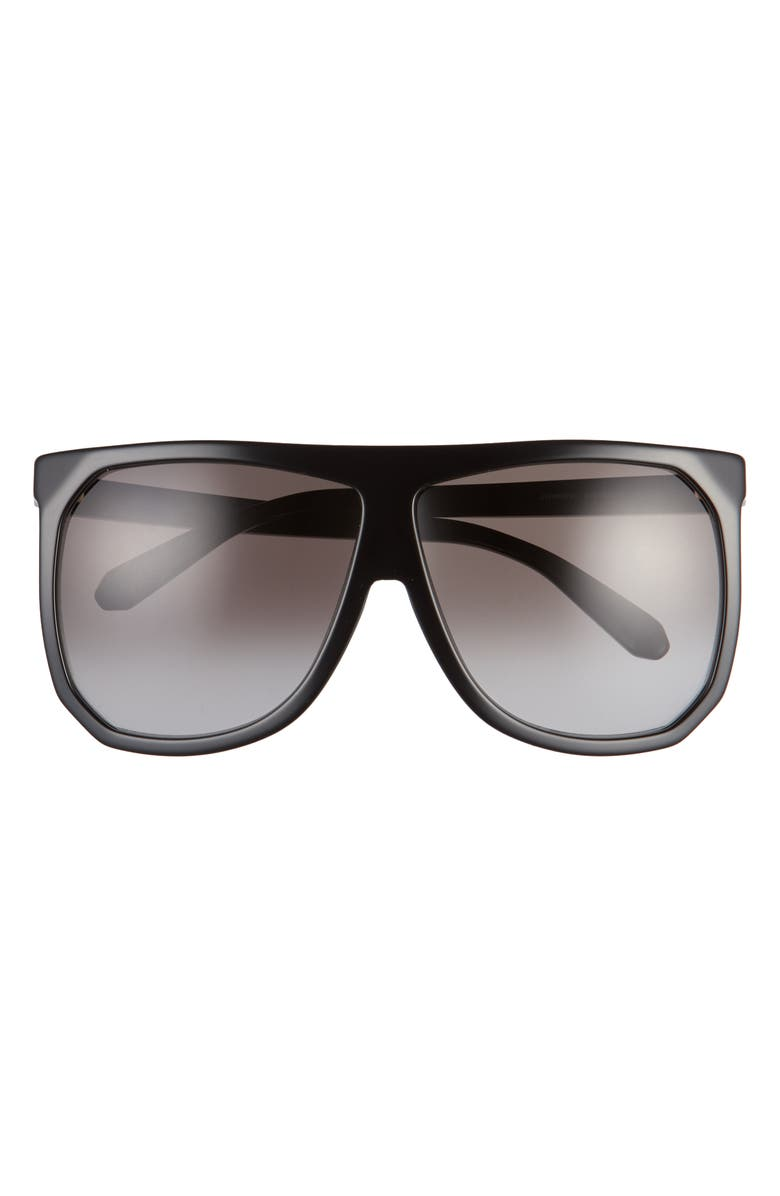 LOEWE 63mm Oversize Gradient Flat Top Sunglasses, Main, color, SHINY BLACK/ GRADIENT SMOKE