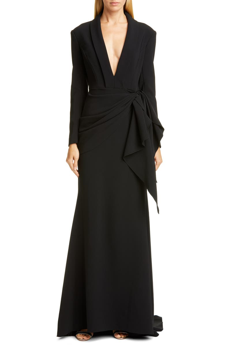 CHRISTIAN SIRIANO Long Sleeve V-Neck Trumpet Gown, Main, color, BLACK